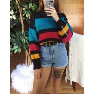 🌿 Vintage Retro Striped Cozy Eclectic Sweater 🌿